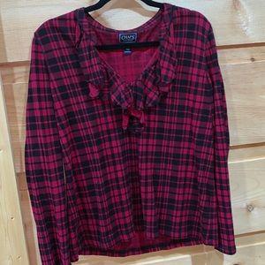 EUC Chaps XL red/black plaid pullover